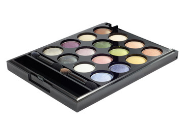 Eye shadows palette with two brushes