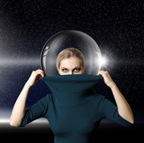 fashion ninja woman in space with glass space-suit
