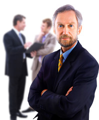 Full body portrait of a casual business man standing
