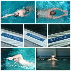 Collage Schwimmbad/ Schwimmstile
