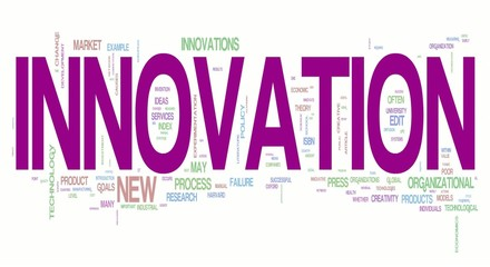 Innovation word collage animation