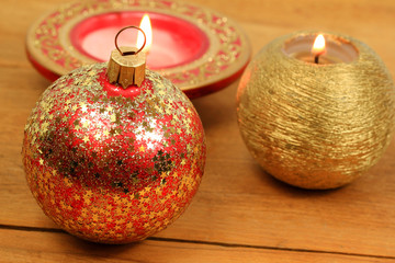 Christmas ball and candles