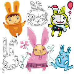 Vector set of different cute Rabbits.
