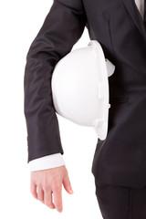 Detail of an engineer holding an helmet