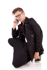 Young man at the phone