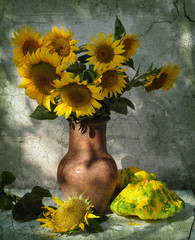 bouquet of sunflowers and patisson