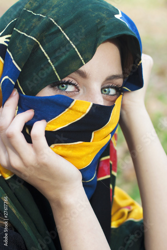 Arabic girl with blue eyes