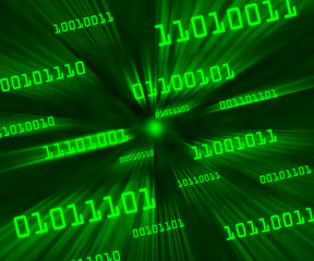 Green tilted bytes of binary code flying through a vortex