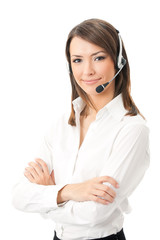 Portrait of happy smiling cheerful support phone operator
