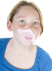 Girl with popped gum bubble