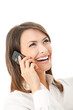 Happy successful businesswoman with cell phone, isolated
