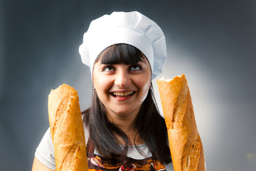 woman cook with breaked french bread