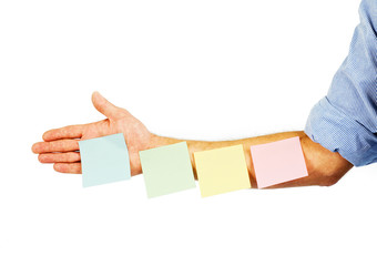 Post it notes on arm