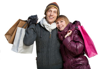 young couple with shoppingbags