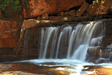 part of Tropical Tadtone waterfall in rain forest in Chaiyaphum