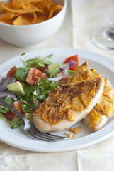 Spice-crunch chicken with side salad