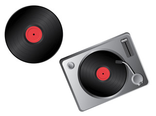 Vinyl disc and turntable - vector