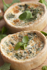 Spinach quiche with watercress