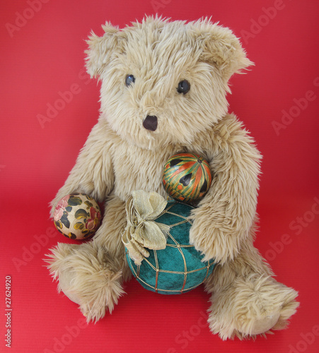Christmas ornaments with teddy bear
