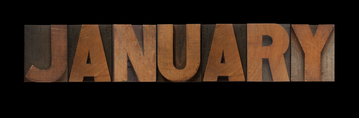 the word January in old letterpress wood type