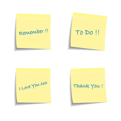 Post it notes with common phrases
