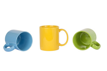 Three cups isolated on white background
