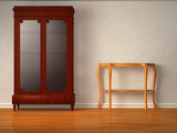 Cupboard with wooden table in minimalist interior poster