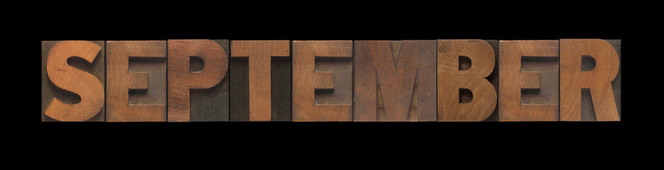 the word September in old letterpress wood type