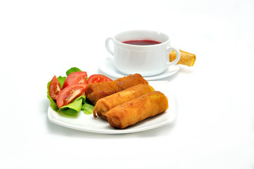 Polish Cuisine. Croquette and red beetroot soup