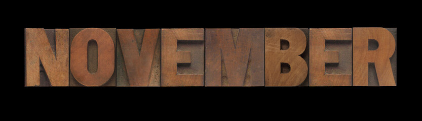 the word November in old letterpress wood type