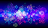 set of snowflakes on black background of twinkling lights poster