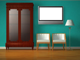 Cupboard with chairs and stand lamp with lcd tv poster