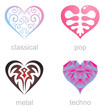 Four icons of musical hearts