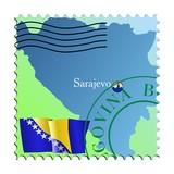 Sarajevo - capital of Bosnia and Herzegovina. Vector stamp poster