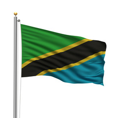 Flag of Tanzania waving in the wind in front of white background