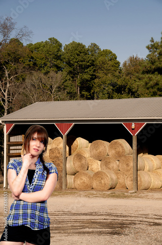 Beautiful Woman and Hay Bales
