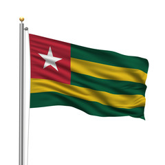 Flag of Togo waving in the wind in front of white background
