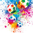 The colorful footballs on a white background