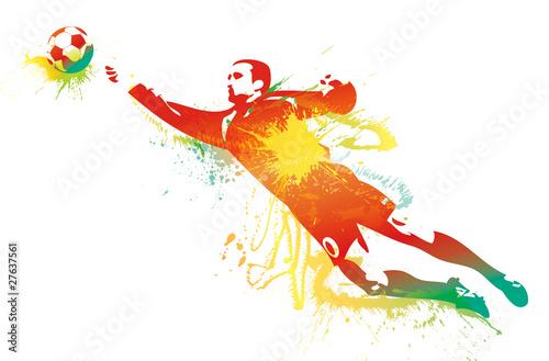 Bramkarz piłkarski łapie piłkę