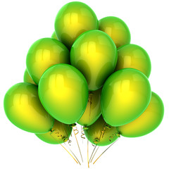 Bunch of helium balloons colored green and yellow (Hi-Res)