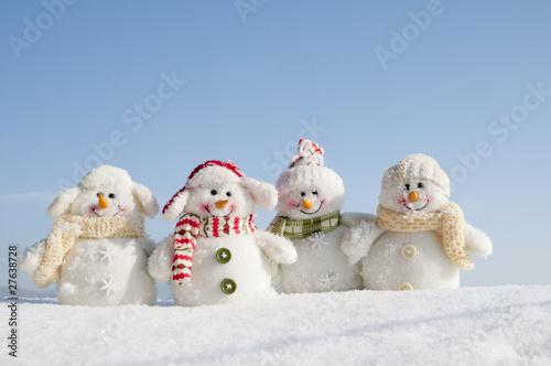 Leinwandbild Motiv Happy snowman team