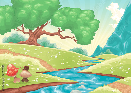 Cartoon landscape with stream. Vector illustration.