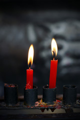 Red candles on a candlestick