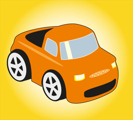 Orange car on yellow background