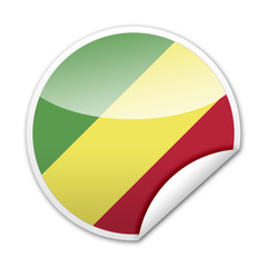 Pegatina bandera Congo con reborde