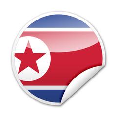 Pegatina bandera Corea del Norte con reborde