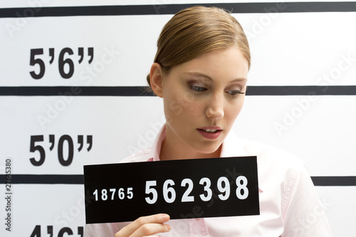 Young woman mugshot