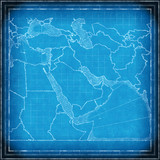 Middle East map blueprint poster