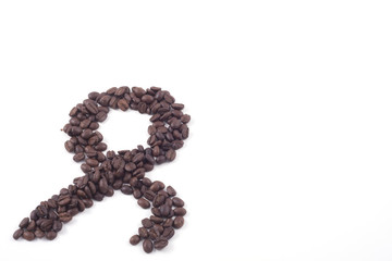 ok sign made out of fair trade coffee beans isolated on white