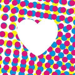 Heart on raster  background